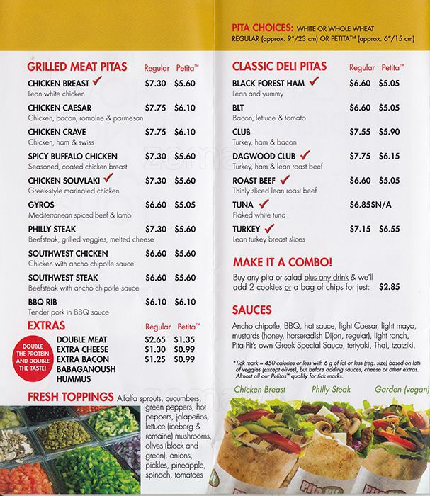 Pita Pit Menu Items Prices